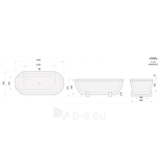 Akrilinė vonia PAA ANDANTE Paveikslėlis 3 iš 3 310820126645