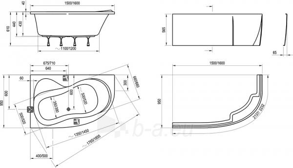 Akrilinė vonia ROSA 95,150x95 cm, Paveikslėlis 2 iš 3 310820163451
