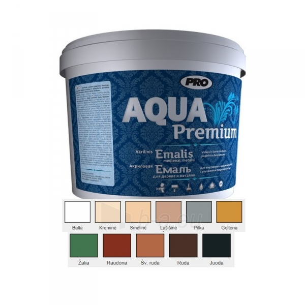 Akrilinis emalis medienai, metalui AQUA PREMIUM geltona matinė 0 Paveikslėlis 1 iš 2 236520000906