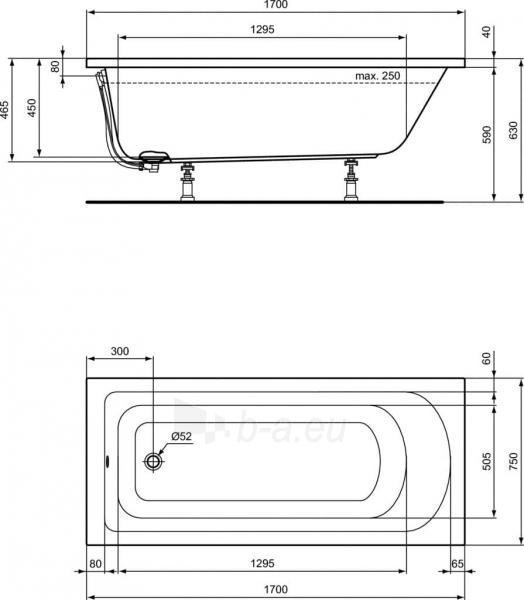 Akrilo vonia Ideal Standard, Hotline, 170x75, įmontuojama Paveikslėlis 3 iš 3 310820163247