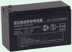 Akumuliatorius Europower 12V/7Ah Paveikslėlis 1 iš 1 250254301050