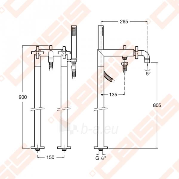 Ant grindų montuojamas vonios/dušo maišytuvas ROCA Loft Paveikslėlis 8 iš 8 270721000546