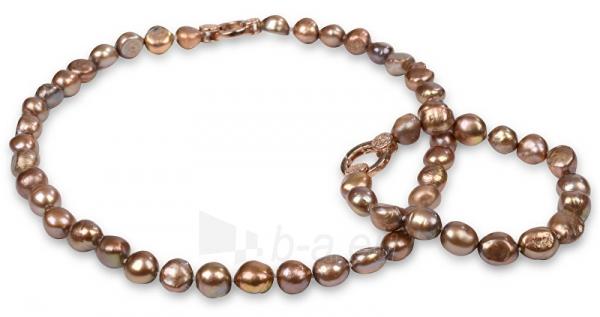 Apyrankė JwL Luxury Pearls Set necklace and bracelet made of real pearls tawny JL0163 Paveikslėlis 1 iš 5 310820126412
