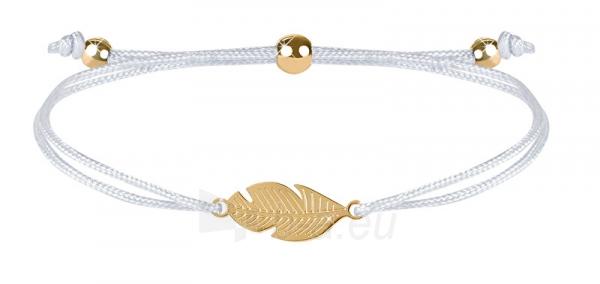 Apyrankė Troli Corded bracelet with feather white / gold Paveikslėlis 1 iš 4 310820203594