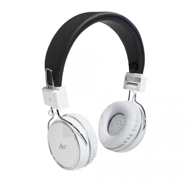 ART Ausinės su mikrofonu Bluetooth AP-B02-W baltos (TOUCH) Paveikslėlis 1 iš 5 250255091024