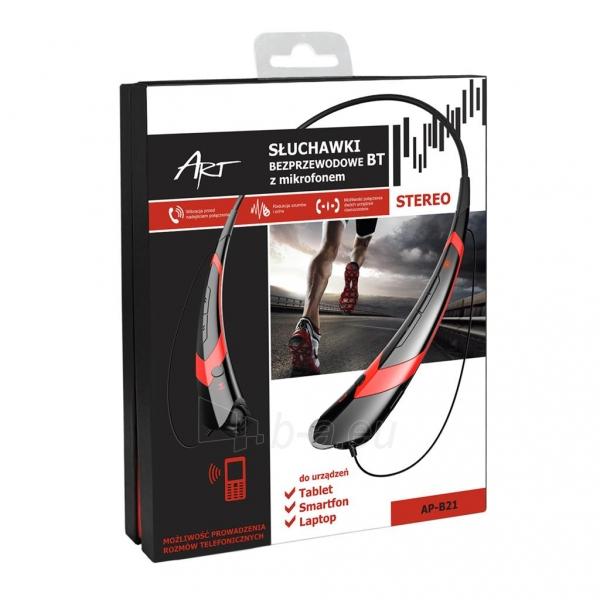 ART Ausinės su mikrofonu Bluetooth AP-B21 juodos/raudonos (RING) sport Paveikslėlis 4 iš 4 250255091025