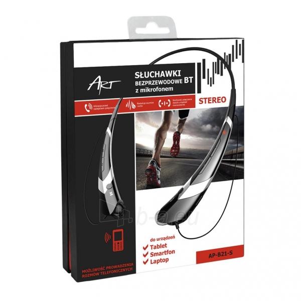 ART Ausinės su mikrofonu Bluetooth AP-B21-S juodos/silver (RING) sport Paveikslėlis 4 iš 4 250255091026