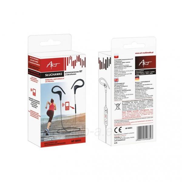 ART Bluetooth ausinės su mikrofonu AP-BX61 black sport (EARHOOK) Paveikslėlis 3 iš 3 310820026720