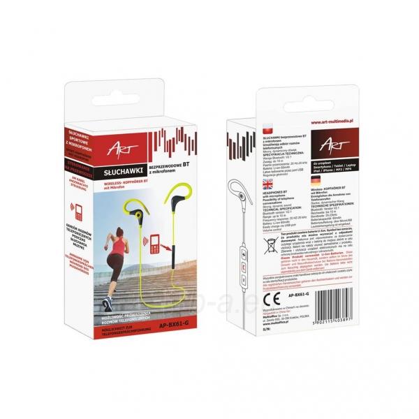 ART Bluetooth ausinės su mikrofonu AP-BX61 lime sport (EARHOOK) Paveikslėlis 3 iš 3 310820026721