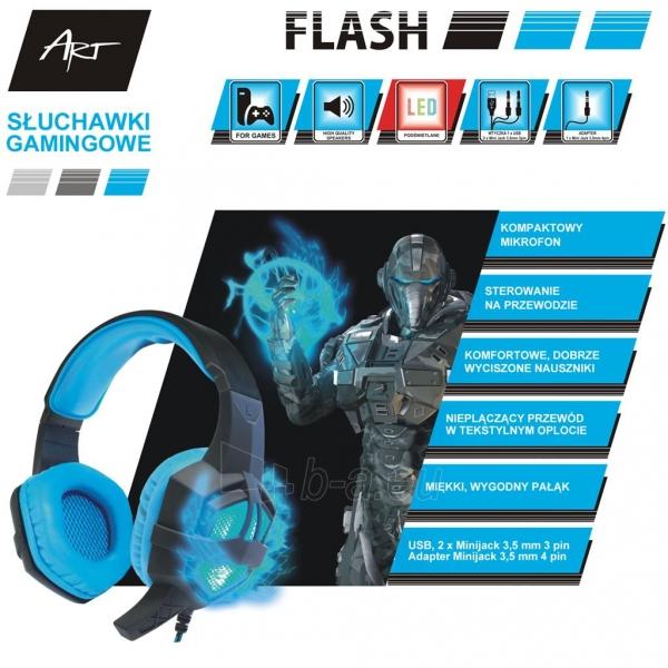 ART GAMING ausinės su mikrafonu FLASH illuminate Paveikslėlis 7 iš 8 310820042369