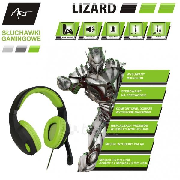 ART GAMING ausinės su mikrafonu LIZARD 1xmini Jack + adapter 2xmini Jack Paveikslėlis 4 iš 5 310820042370