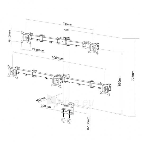 ART Holder L-05 UNIVERSAL for 5xLCD MONITOR 13-20 Paveikslėlis 2 iš 2 250251202395