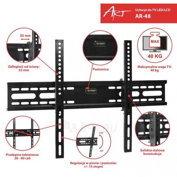 ART laikiklis AR-48 26-60 for LCD/LED/PLAZMA black 40KG vertical adjustment Paveikslėlis 3 iš 3 310820039821