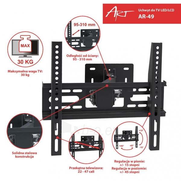 ART laikiklis AR-49 22-47 for LCD/LED black 30KG vertical and level adjustment Paveikslėlis 3 iš 3 310820039822