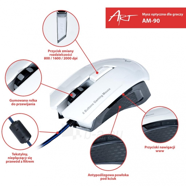 ART Mouse optical for players 2000DPI USB AM-90 white Paveikslėlis 8 iš 9 250255031628