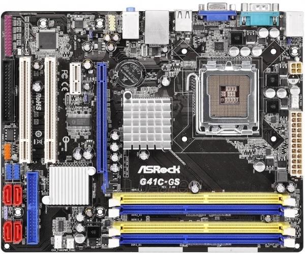 ASRock G41C-GS R2.0, G41, ICH7, COMBO DDR2-800/DDR3-1066, 4xSATA2, VGA, mATX Paveikslėlis 1 iš 2 250255051747