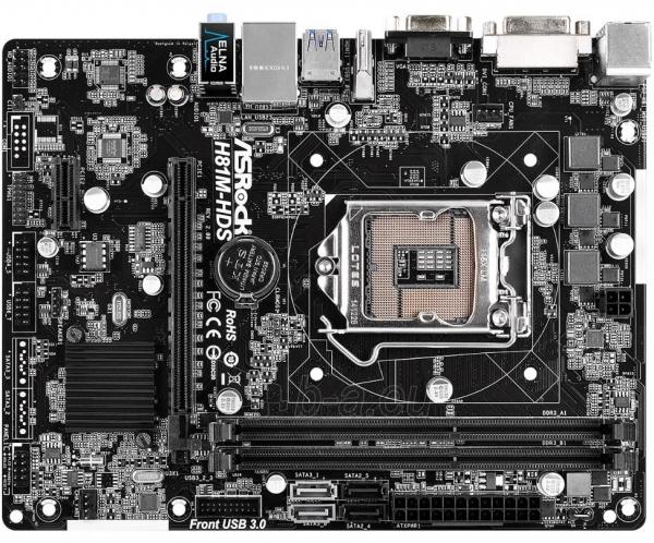 ASRock H81M-HDS R2.0, H81, DualDDR3-1600, SATA3, HDMI, DVI, D-Sub, mATX Paveikslėlis 1 iš 2 250255051796