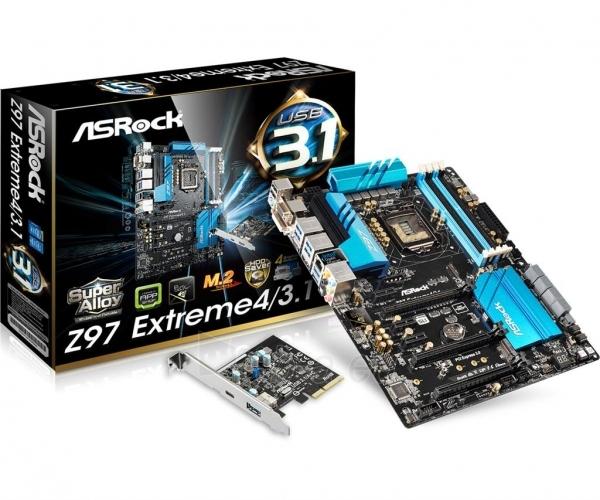 ASRock Z97 EXTREME4/3.1, Z97, DualDDR3-1600, SATA3, HDMI, DVI, VGA, USB 3.1, ATX Paveikslėlis 1 iš 3 250255051755