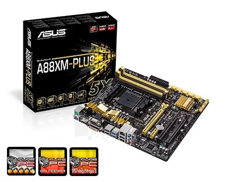 ASUS A88XM-PLUS, A88X Bolton D4, DualDDR3-2133, 8xSATA3, HDMI, DVI, RAID, mATX Paveikslėlis 1 iš 3 250255051529