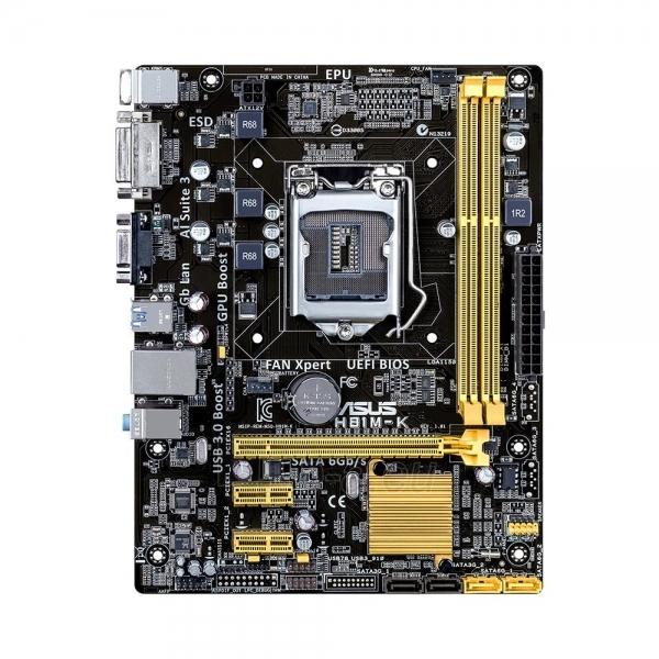 ASUS H81M-K, H81, DualDDR3-1600, SATA3, DVI, uATX Paveikslėlis 1 iš 2 250255051538