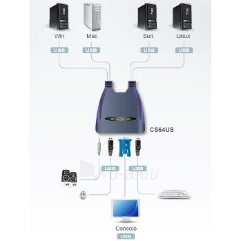ATEN CS64US 4-Port USB KVM Switch, Speaker Support, 0.9/1.2m cables Paveikslėlis 2 iš 3 250257501444