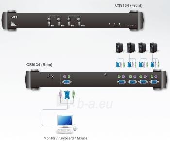 ATEN KVM 4/1 CS-9134 Master PS/2 OSD 19 Paveikslėlis 2 iš 4 250257501467