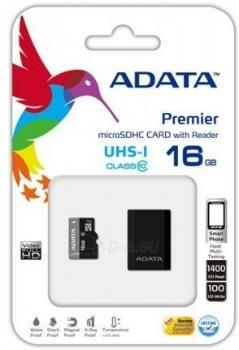 Atminties kortelė Adata microSDHC UHS1 16GB MikroSkaitytuvas Paveikslėlis 1 iš 1 250255122582