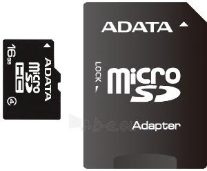 Atminties kortelė Adata microSDHC 16GB CL4  Adapteris Paveikslėlis 1 iš 1 250255122753