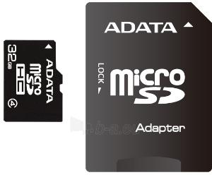 Atminties kortelė Adata microSDHC 32GB CL4  Adapteris Paveikslėlis 1 iš 1 250255122754