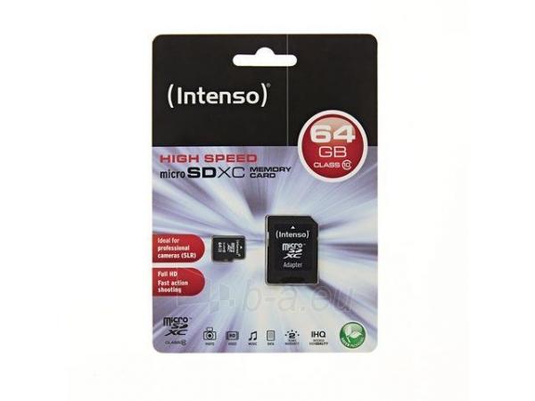 Atminties kortelė Intenso micro SD 64GB SDHC klasė 10 Paveikslėlis 2 iš 2 310820000515