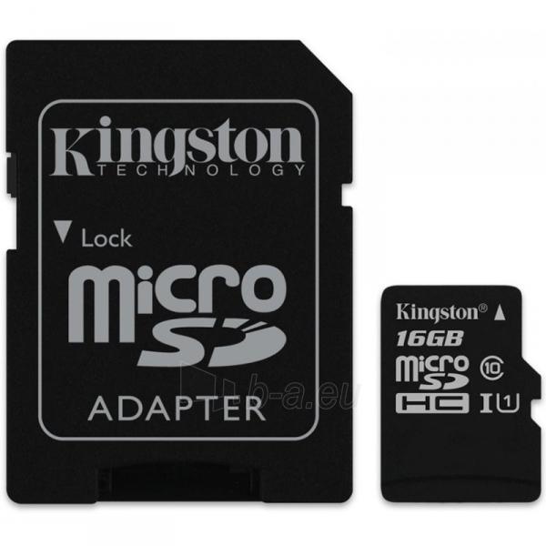 Atminties kortelė KINGSTON 16GB microSDHC Class 10 UHS-I 45MB/s Read Card + SD Adapter Paveikslėlis 1 iš 1 310820010179