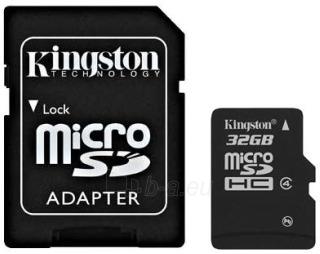 Atminties kortelė Kingston microSDHC 32GB CL4  Adapteris Paveikslėlis 1 iš 1 250255122766