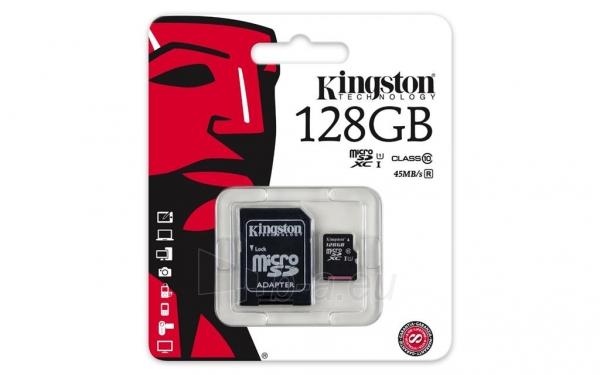 Atminties kortelė Kingston microSDXC 128GB CL10 UHS-I + adapteris Paveikslėlis 1 iš 1 310820013298