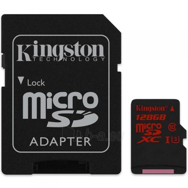 Atminties kortelė Kingston microSDXC 128GB UHS-I U3 (r/w;90/80MB/s) + adapteris Paveikslėlis 1 iš 2 310820013313