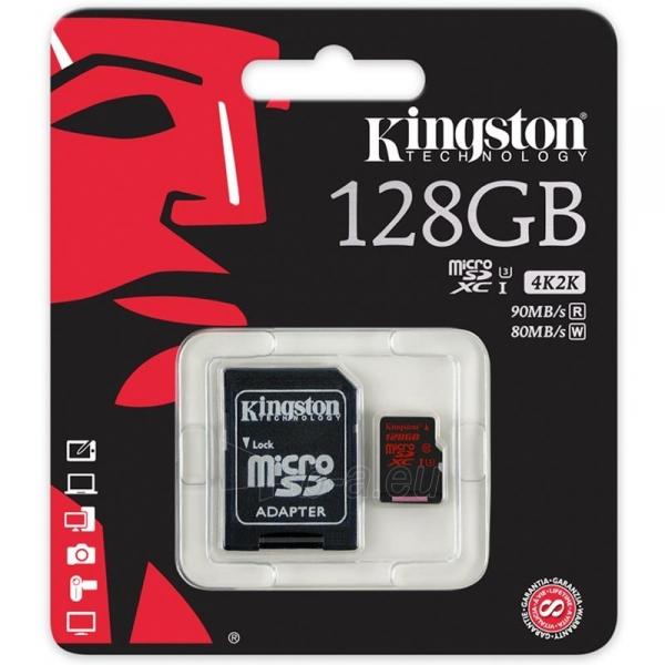 Atminties kortelė Kingston microSDXC 128GB UHS-I U3 (r/w;90/80MB/s) + adapteris Paveikslėlis 2 iš 2 310820013313