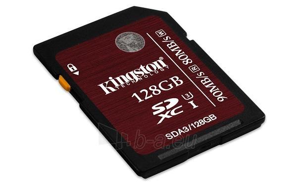 Atminties kortelė Kingston SDXC 128GB UHS1 CL3, Sparta 90/80MBs Paveikslėlis 2 iš 3 250255123395