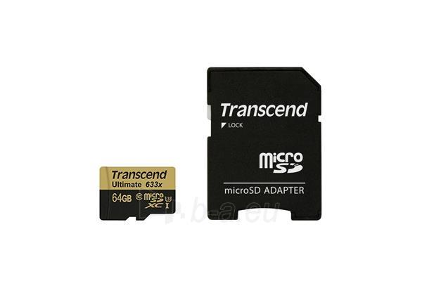 Atminties kortelė Memory card Transcend microSDXC 64GB Class 10, UHS1 + Adapter Paveikslėlis 1 iš 2 310820043785