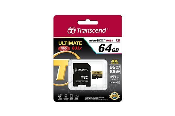 Atminties kortelė Memory card Transcend microSDXC 64GB Class 10, UHS1 + Adapter Paveikslėlis 2 iš 2 310820043785