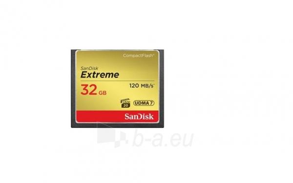 Atminties kortelė SanDisk Extreme CF 32GB UDMA7 (transfer 120MB/s) Paveikslėlis 1 iš 1 250255123217
