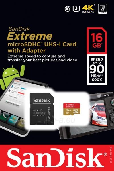 Atminties kortelė SanDisk Extreme microSDHC 16GB 90MB/s, UHS-I, mobile, +adapter Paveikslėlis 1 iš 1 310820043773
