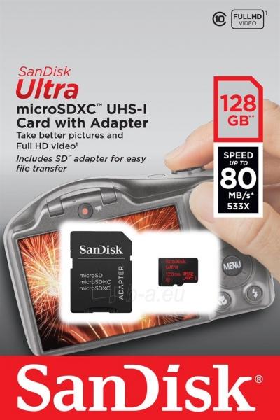 Atminties kortelė SanDisk ULTRA Micro SDXC 128GB UHS-I, Read: 80MB/s adapter SD Paveikslėlis 1 iš 1 310820037241