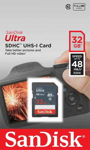 Atminties kortelė SanDisk Ultra SDHC 32GB CL10 UHS1, Iki 48MBs Paveikslėlis 1 iš 1 310820037244