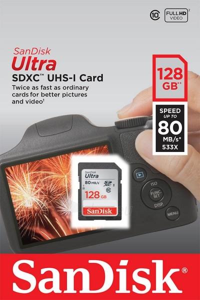 Atminties kortelė SanDisk Ultra SDXC 128GB klasė 10 UHS-I, Read: up to 80MB/s Paveikslėlis 1 iš 1 310820037240