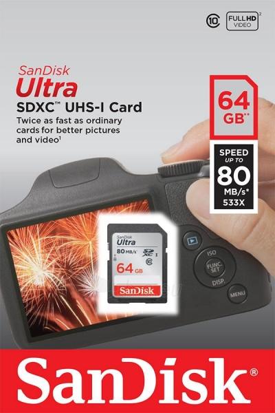 Atminties kortelė SanDisk Ultra SDXC 64GB klasė 10 UHS-I, Read: up to 80MB/s Paveikslėlis 1 iš 1 310820037239