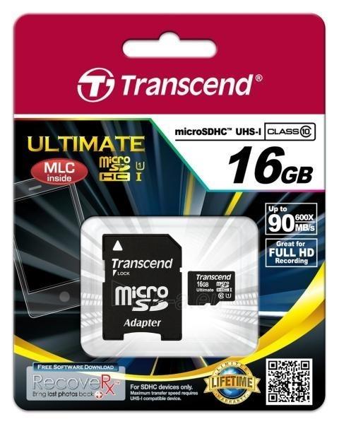 Atminties kortelė Transcend microSDHC 16GB UHS1 600x Paveikslėlis 2 iš 2 250255122542
