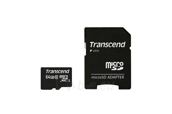 Atminties kortelė Transcend microSDXC 64GB CL10 + Adapter (SD 3.0) Paveikslėlis 1 iš 2 310820037245