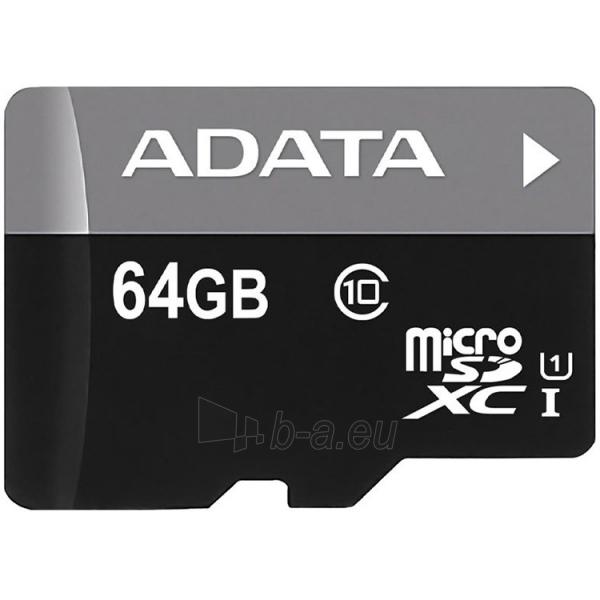 Atmintinė A-DATA Memory ( flash cards ) 64GB Micro SDHC Class 10/UHS-I Paveikslėlis 1 iš 1 310820014427