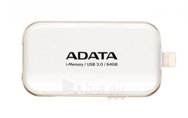 Atmintinė Adata i-Memory Flash Drive UE710 64GB, iOS support, USB3.0, white Paveikslėlis 1 iš 1 310820044995