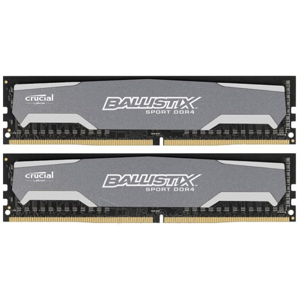 Atmintinė Crucial DRAM 16GB Kit (8GBx2) DDR4 2400 MT/s (PC4-19200) CL16 DR x8 Unbuffered DIMM 288pin Ballistix Sport DDR4, Integrated heat spreader and black PCB, EAN: 649528769770 Paveikslėlis 1 iš 1 310820014486
