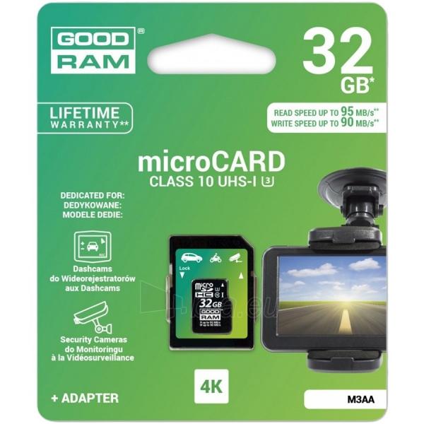 Atmintinė GOODRAM 32GB MICRO CARD MLC U3 UHS I + adapter 95/90 MB/s DEDICATED Paveikslėlis 1 iš 1 310820023728